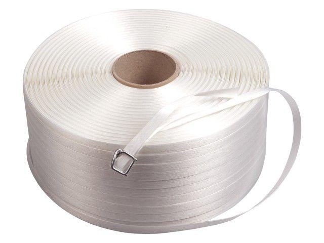 Omsnoeringsband wit textiel 19 mm x 600m