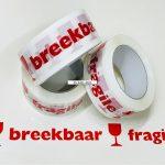 """Tape PP acryl bedrukt """"Breekbaar"""" 100 M x 48 mm 28 µ"""
